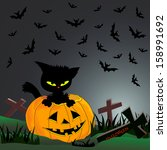 halloween illustration with cat ... | Shutterstock .eps vector #158991692