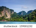 limestone landscape at railay ... | Shutterstock . vector #159001232