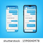 ui ux phone chat blue interface....