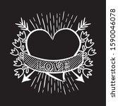 hand drawn vector heart. black...   Shutterstock .eps vector #1590046078