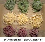 Nests Of Homemade Pasta On The...