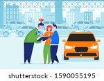 car dealer explaining sales...   Shutterstock .eps vector #1590055195