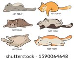 set of lazy cats. collection of ... | Shutterstock .eps vector #1590064648