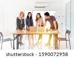 young asian officer team... | Shutterstock . vector #1590072958