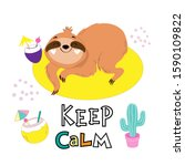 funny sloth lies on a yellow... | Shutterstock .eps vector #1590109822