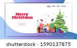 senior man in elf hat giving... | Shutterstock .eps vector #1590137875