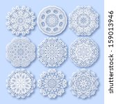 circle lace ornament  round... | Shutterstock . vector #159013946