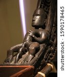 Small photo of Carving on Maori War Canoe, Auckland War Memorial Museum, New Zealand, differential focus