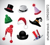 Hats collection. A set of fun hats. EPS 10 vector, grouped for easy editing. No open shapes or paths.