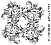floral hand drawn vector... | Shutterstock .eps vector #1590257965