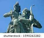 arjuna and krishna famous... | Shutterstock . vector #1590262282