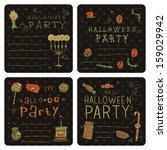 halloween party postcard... | Shutterstock .eps vector #159029942