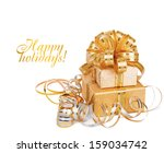 beautiful  gift box in gold... | Shutterstock . vector #159034742
