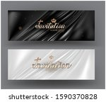 invitation cards with pleated... | Shutterstock .eps vector #1590370828