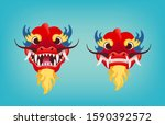 red dragon head with open and...   Shutterstock .eps vector #1590392572
