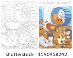 caged hamsters. funny cartoon... | Shutterstock .eps vector #1590458242
