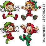 christmas elves jumping  set of ... | Shutterstock .eps vector #1590482695