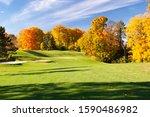 Landscape Fall Foliage At Golf...