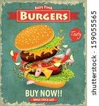 vintage burger poster design | Shutterstock .eps vector #159055565