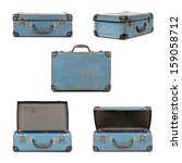 Small Blue Vintage Suitcase In...