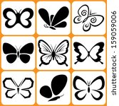 Stock vector butterfly icons set 159059006
