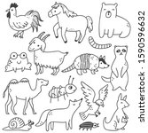 Set Of Animals Doodle Isolated...