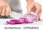 Cook Is Chopping Onion  Closeu...