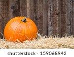 Single Pumpkin On Hay Against...