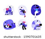 a girl reading a book  a boy... | Shutterstock .eps vector #1590701635