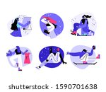 a beautiful girl looking in a... | Shutterstock .eps vector #1590701638