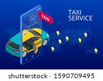 taxi service. mobile phone with ...
