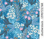 ditzy floral seamless pattern.... | Shutterstock . vector #1590721768
