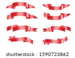 a variety of red ribbons all in ...   Shutterstock .eps vector #1590723862