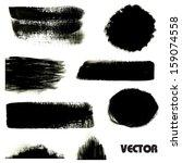 black grunge stripes  spots and ... | Shutterstock .eps vector #159074558
