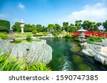 Small photo of Ho Chi Minh City, Vietnam - November 19th, 2019: Bonsai garden beauty with cypress, pine, stone, water as paintings incorporate blending attract tourists sightseeing in Ho Chi Minh City, Vietnam.