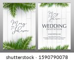 double wedding invitation with... | Shutterstock .eps vector #1590790078