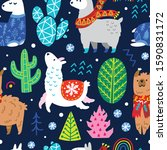 seamless winter pattern with... | Shutterstock .eps vector #1590831172