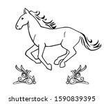 hand drawn running horse... | Shutterstock .eps vector #1590839395