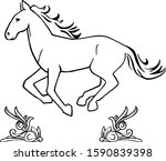 hand drawn running horse... | Shutterstock . vector #1590839398