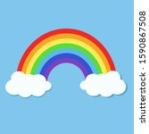 colorful rainbow and clouds in... | Shutterstock .eps vector #1590867508