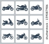 Vector isolated motorcycles icons set - stock vector
