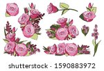 a set of bouquets of pink roses ...   Shutterstock .eps vector #1590883972
