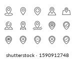 stroke line icons set of map...
