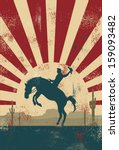 Grunge background, cowboy riding wild horse, vector - stock vector