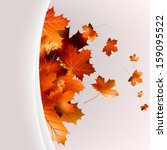 flying autumn leaves background ... | Shutterstock .eps vector #159095522