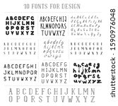 set of 10 hand drawn fonts.... | Shutterstock .eps vector #1590976048