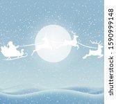 santa flies on deers on the... | Shutterstock .eps vector #1590999148