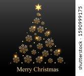 christmas tree of golden... | Shutterstock .eps vector #1590999175