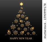 christmas tree of golden... | Shutterstock .eps vector #1590999178
