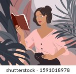sweet girl reading a book and... | Shutterstock .eps vector #1591018978